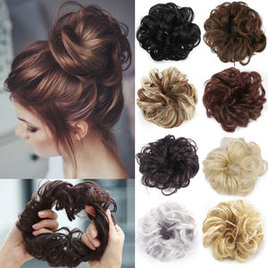 Messy Hairpieces for Women Hair Bun Elastic Scrunchie Chignon Updo Donut Curly Hair Rope Rubber Band Synthetic Wrap Ponytail(China)