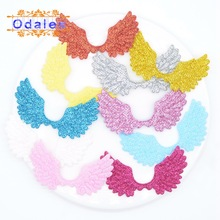 50Pcs/lots Shiny Angel Wings Crafts Patches Glitter Fabric Fairy Stickers Appliques Cake Topper Wedding Decoration Supply