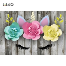 Laeacco Flowers Planks Unicorn Communion	Party Decor Photography Backgrounds Custom Photographic Backdrops Prop For Photo Studio