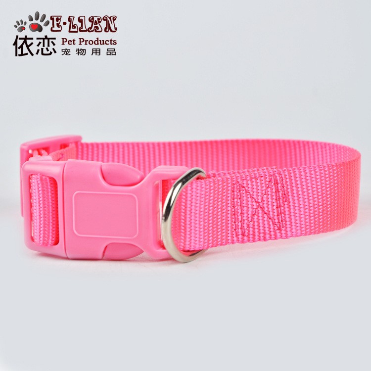 Pet Collar Pet Traction Rope Safety Belt Supplies Nylon Collar Six-Color Dog Neck Ring