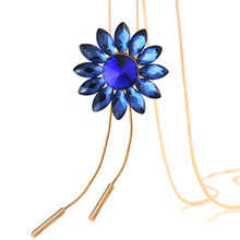 цена на Crystal Flower Sweater Chain Women Gold Snake Chains Long Necklaces For Woman Pendant Necklace CH19Nk9010