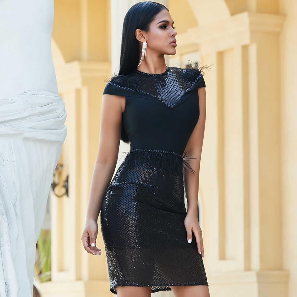 קיץ קצר שרוול יוקרה ערב נצנצים Midi Bodycon שמלות נשים O-צוואר סקסי אלסטי לילה מסיבת פסטיבל Vestidos שחור