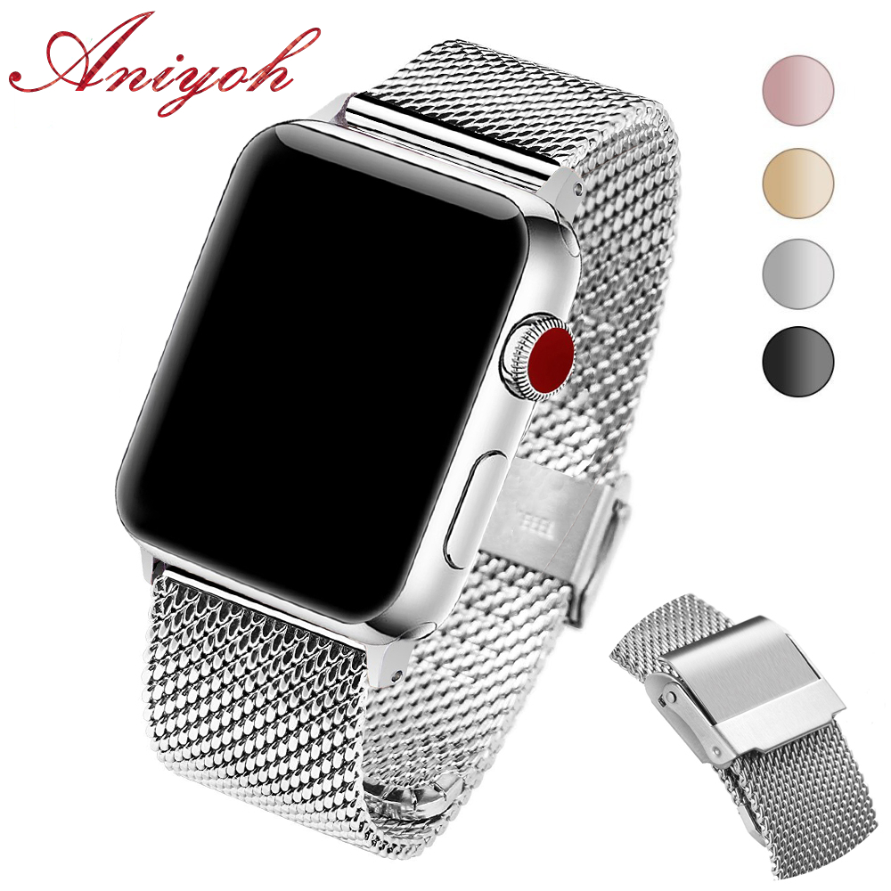 Aniyoh Stainless Steel Watch Band For Apple Watch 44mm 42mm 40mm 38mm Series 4/3/2/1  Metal Mesh Watchband Bracelet IWatch Strap