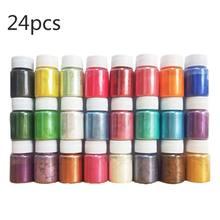 24 sztuk DIY Handmade perłowy proszek Mica żywica epoksydowa barwnik perłowy Pigment żywica klej pigmenty materiał kryształ formy robienie mydła