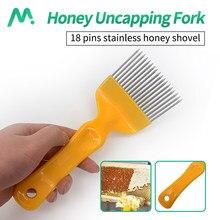 Outils pour l'apiculture, aiguilles droites à 18 broches, fourchettes à déboucher avec poignée en acier inoxydable, râteau à miel clairsemé, peigne de pelle, utilisation pour apiculteur