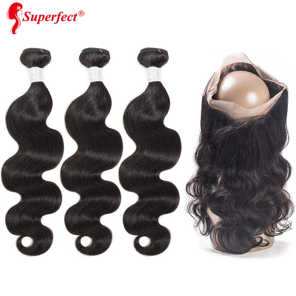 Superfect 360 Lace Frontal Closure With Bundle Brazilian Body Wave Human Hair 360 Frontal with Bundles Remy Hair Bundles