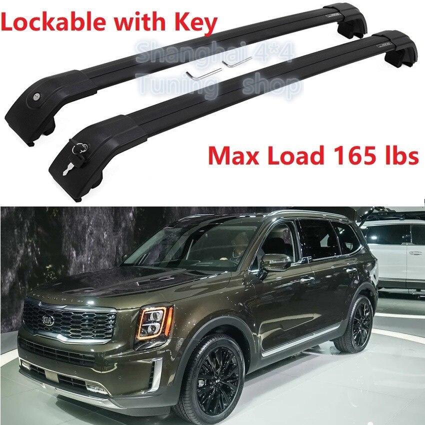 good quality black for kia telluride 2019 2020 baggage luggage rack roof rack roof rail cross bar