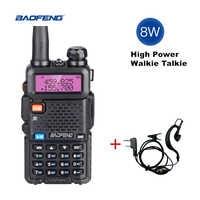 Real 8 w baofeng uv 5r walkie talkie 10km uv-5r dupla banda de rádio em dois sentidos uv5r vhf uhf portátil cb ham rádio fm hf transceptor