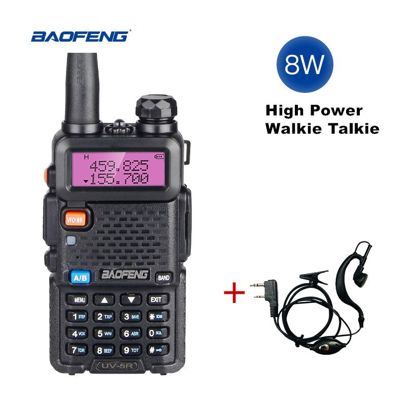 Real 8W Baofeng UV 5R Walkie Talkie 10km Uv-5r Dual Band Two Way Radio UV5R VHF UHF Portable CB Ham Radio FM HF Transceiver