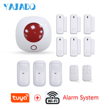 YAJADO Tuya WiFi Home Security Alarm System with Wireless Detectors & Indoor Siren Alarm Speaker Android&iOS APP Remote Control