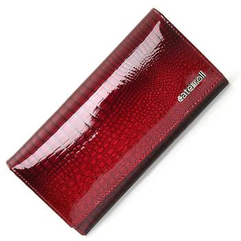 Długi portfel kobieta prawdziwej skóry kobiet portfele czerwone panie portmonetki luksusowe marki worek pieniędzy tanie i dobre opinie caterroll Genuine Leather long 0 2 kg cow leather Alligator Moda AE150B Kieszonka na monety Kieszeń na telefon komórkowy
