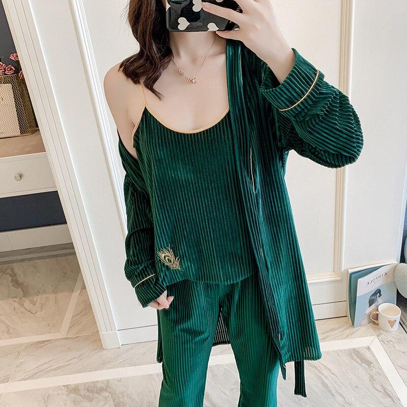 Green Lounge Nightwear For Young Lady Velour Sexy Home Clothing Women Long Sleeve Pajamas Set Sleepwear 3PCS Sleep Set