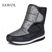 Sapatos de Inverno das mulheres Tamanho Grande Marca de Alta Qualidade Mulheres Sapatos De Pelúcia E Lã Mulheres Inverno Warmful Botas Meados de Bezerro botas Sawol