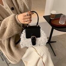 Черные шерстяные сумки шопперы для женщин 2020 Зима Новое поступление