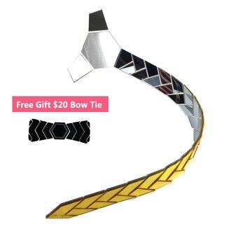 Reversibile Specchio Cravatta Oro n Un Lato da Un lato Argento Classy Cravatte Regalo Di Natale Acrilico Brillante Cravatte Slim Cravatta Clip di set