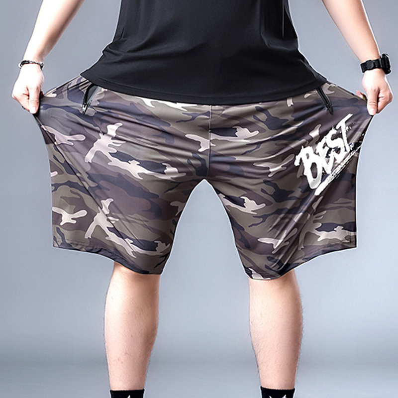 Zipper shorts thin pants big guy daily casual trousers men fashion camouflage shorts cool ice silk large size L-7xl