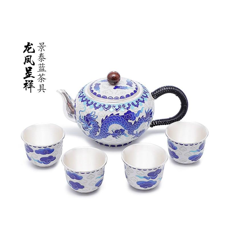 Cloisonne Dragon Phoenix Phoenix Silver Enamel Tea Ceremony Household Black Tea Combination Luxury Kung Fu Tea