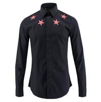 Red Star Print Shirt Men Camisas Hombre 2020 Luxury Brand Mens Black Cotton Dress Shirts Tuxedo Shirt Business Casual Men Shirt