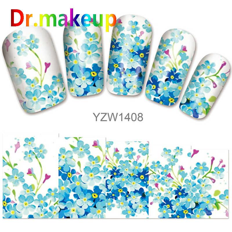 Dr. Maquillage 1 feuille 3D fleur transfert d'eau autocollants bricolage couverture complète papillon rouge Rose en relief ongles curseurs autocollants Art des ongles enveloppes