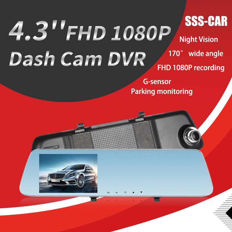 Limousback Car DVR Camera Registration Video-Recorder Rearview-Mirror Dual-Lens Automatic