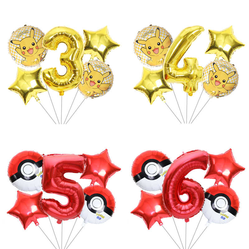 5pcs/lot Cartoon Pikachu Pokemon Go Helium Foil Balloons 1 2 3 4 5 6 7 8 9st Children Birthday Party toys Decoration Baby Shower