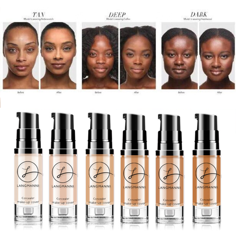 Full Coverage Waterproof Colour Changing Soft Matte Liquid Foundation Concealer Makeup Matte Face Tone 6 Color Dark BB Cream image