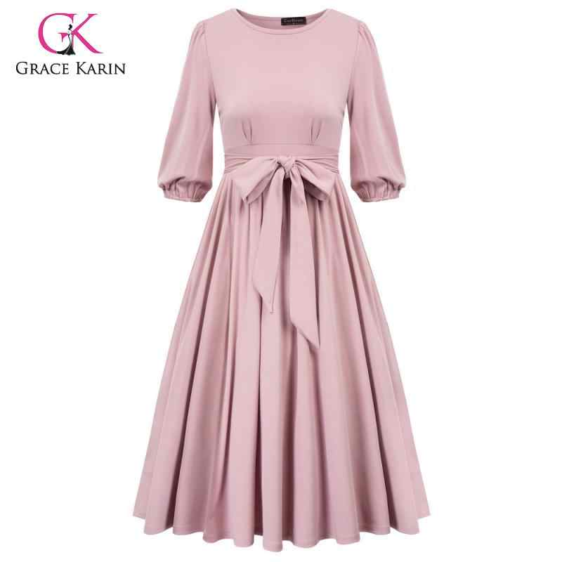 Grace Karin Vintage Dress Solid Pleated A-Line Swing Dress 2020 Autumn New Flared Party Dress Mid-Claf Belt Midi Dresses Women