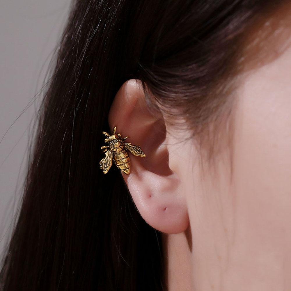 1Pc Bee Shape Ear Clip Cuffs Gold/silver Color Fake Ear Piercing Metal Non Piercing Clip Earrings Women Insect Ear Jewelry|Clip Earrings|   - AliExpress