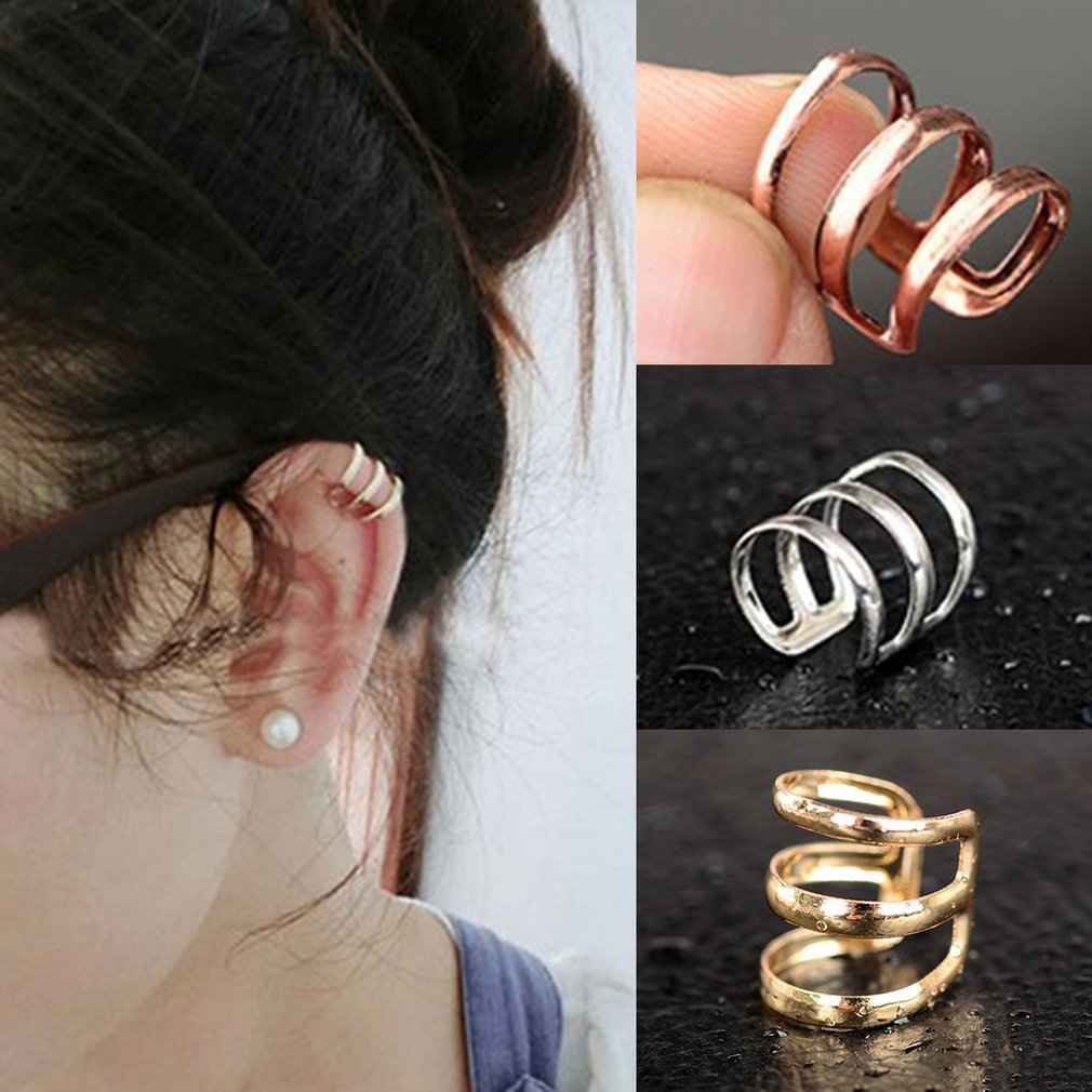 Wireless Ear Clip Simple Personality Stainless Steel Double Cartilage Earrings Titanium Steel U-shaped Double Ring Party Jewelry