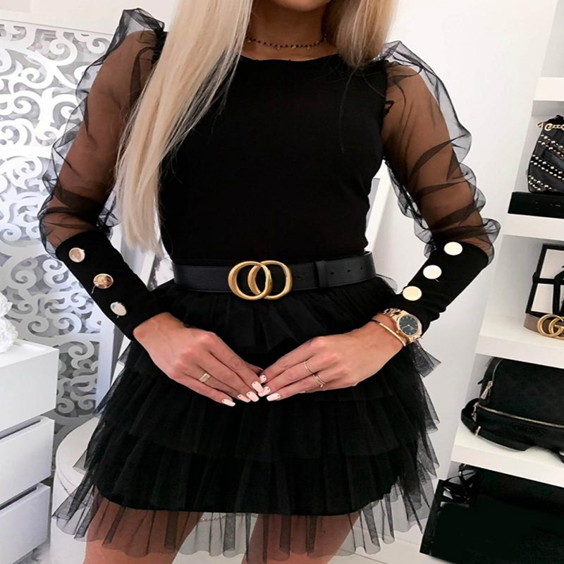 Women Mesh Puff Long Sheer Sleeve Tops Pullover Blouse Shirts Casual Party Club Back Buttons OL Office Casual Blouse