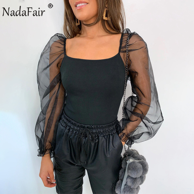Nadafair Transparent <font><b>Mesh</b></font> <font><b>Blouse</b></font> Woman Tops <font><b>2019</b></font> Long Sleeve Club Black White <font><b>Sexy</b></font> <font><b>Blouse</b></font> Ladies Shirt image
