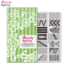 BeautyBigBang Vintage Stainless Steel Stamping Plates Rectangle Sexy Lace Rose Theme Printing DIY Nail Art Template BBB XL-036