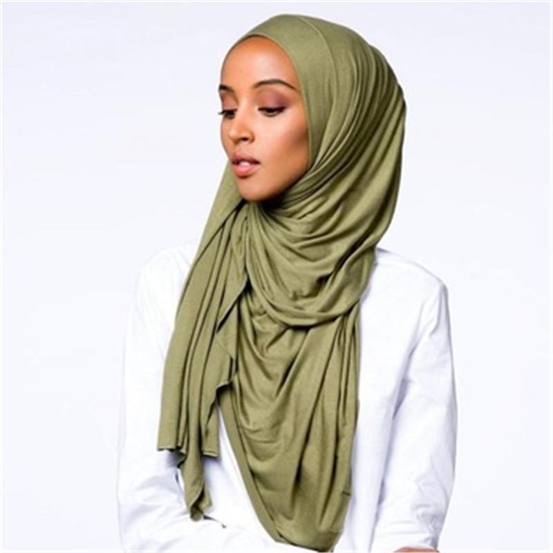 2019 Muslim Stretchy Jersey Scarf Cotton Hijab Turbante Islamic Headscarf Foulard Femme Soft Shawl Arab Wrap Head Scarves