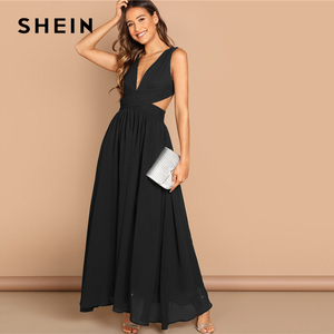 Image 4 - SHEIN Green Plunge Neck Crisscross Waist Ball Dress Elegant Plain Fit and Flare Dress Women Autumn Modern Lady Party Dresses