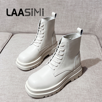 LAASIMI Women Platform Boots For Women's Autumn Genuine Leather Ankle Boots Female Lace Up Winter Shoes Woman Fashion Punk Boots 2020 autumn new lace up platform martin boots female british style short boots female leather boots female leather female boots