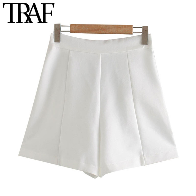 TRAF Women Chic Fashion With Buttons Pockets Bermuda Shorts Vintage High Waist Side Zipper Female Short Ropa Mujer 3