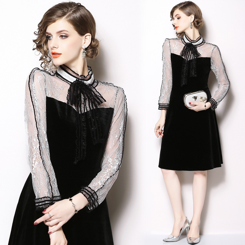 2018 Autumn And Winter New Products Women's Elegant Elegant Stand Collar Lace Joint Velvet Long Sleeve Slim Fit Mid-length Dress