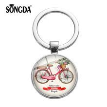 SONGDA moda Vintage bicicleta roja flor arte llavero Linda caricatura bicicleta triciclo serie llavero soporte bolso decoración colgante