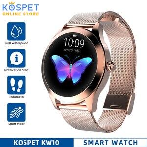 Image 1 - Водонепроницаемые Смарт часы IP68, женские часы с мониторингом сна, пульсометром, Модные Смарт часы KW10 с браслетом для Android и IOS