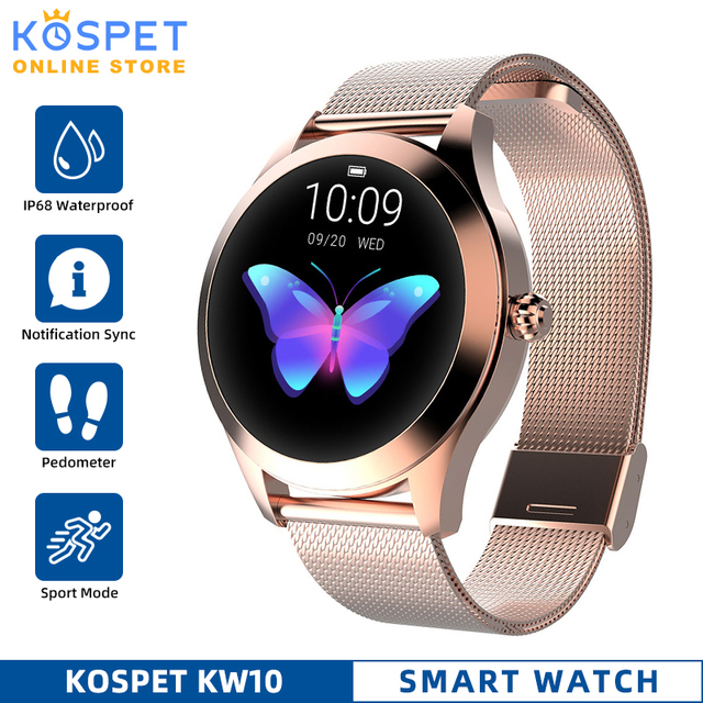 Водонепроницаемые Смарт часы IP68, женские часы с мониторингом сна, пульсометром, Модные Смарт часы KW10 с браслетом для Android и IOS