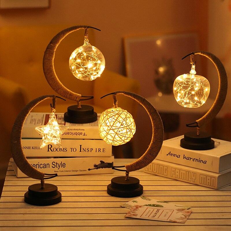 LED Retro Night Light Christmas Gift  Handmade Hemp Rope Rattan Ball Hotel Home Decoration Desk Lamp Fairy Night Battery Powered