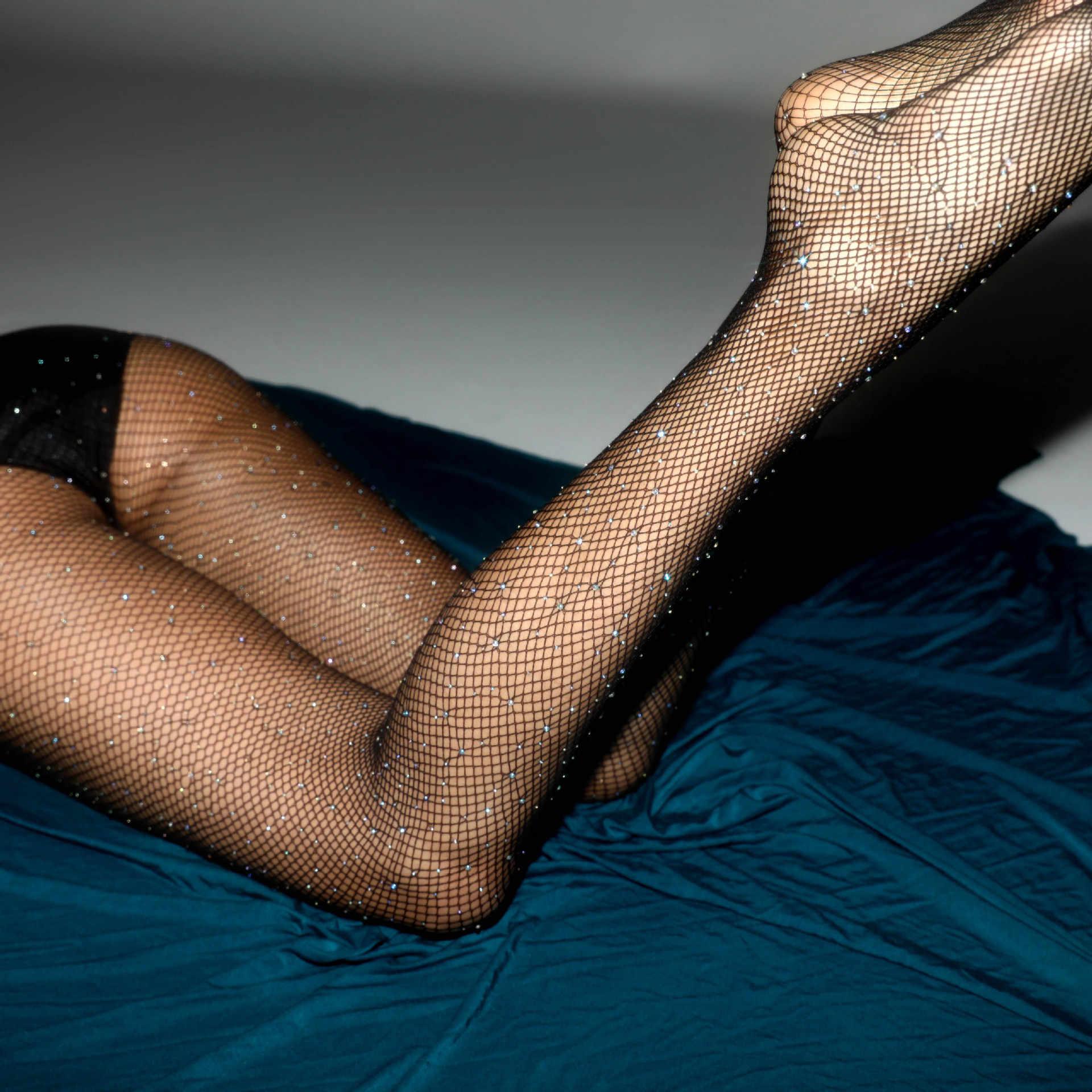 ใหม่ผู้หญิงเซ็กซี่ Fishnet ถุงน่องเปิด Crotch ตาข่าย Pantyhose เงา Rhinestone Nylons ถุงน่องเร้าอารมณ์ชุดชั้นใน Collant