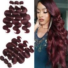 99J/Burgundy Body Wave Human Hair Bundles SOKU Brazilian Non-Remy Human Hair Weave Extension 3PCS/4PCS Bundles Deals