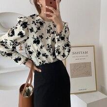 Alien Kitty Autumn Fashion Korean Floral Printing Long Sleeve Casual Loose Retro Shirts 2020 Women Sweet Elegant Blouses Tops