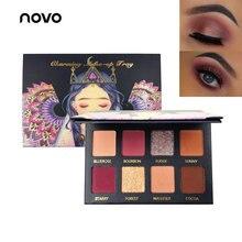 NOVO Red Purple Nude Eye Shadow Palette Makeup 8 Colors Matte Shimmer Wet Glitte
