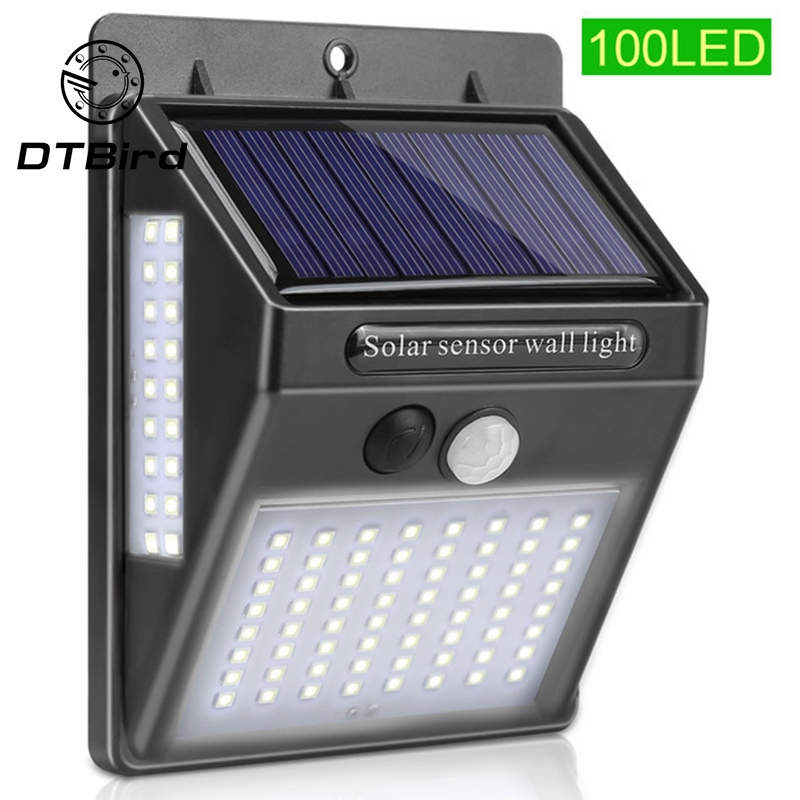 Solar Energy Lamp Body Induction Wall Lamp 100LED Three-sided Outdoor Lighting Outdoor Waterproof Outdoor Courtyard Lamp