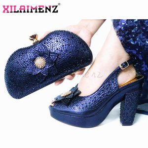 Image 2 - 2020 New Style African Women Matching Shoe and Bag Material with Pu Italian Lady Shoes and Bags Set for Party in Wine Color