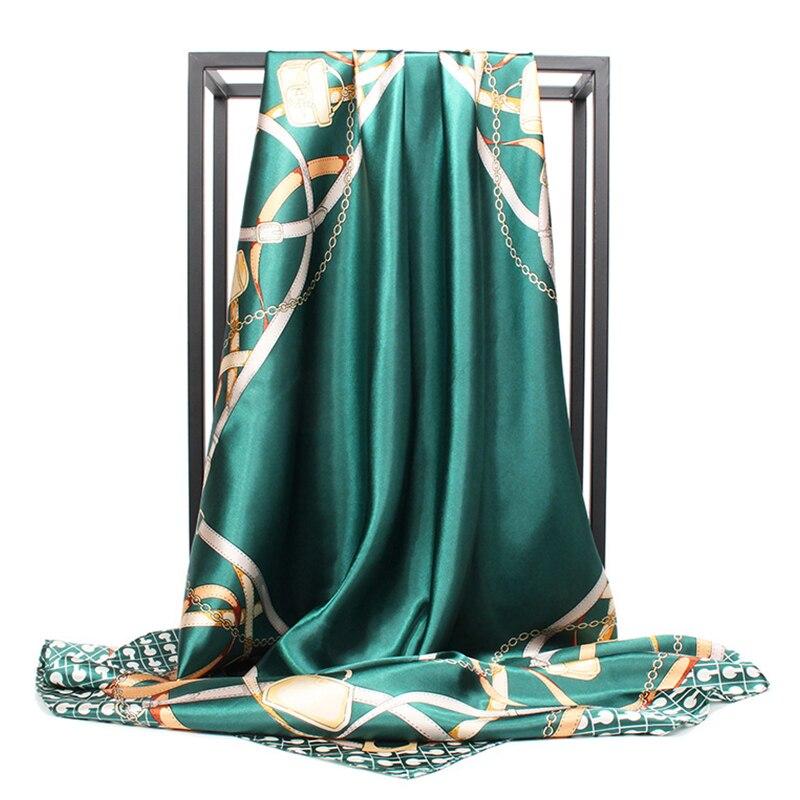 Fashion Silk Satin Hijab Scarf For Women Kerchief Print Bag Hair Scarfs 90*90cm Square Shawls And Wraps Neck Scarves For Ladies