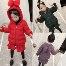 2019 Children's Fur Girls Coat Winter Jacket For Teenage Girls Warm Hooded Thick Cotton-Padded Long Korean Ruffle Kids Clothes