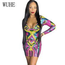 WUHE Sexy Velvet Sequin Print Bodycon Slim Mini Dress Sexy Deep V Neck Vintage Party Dress Vestidos Autumn Women Plus Size XXL(China)